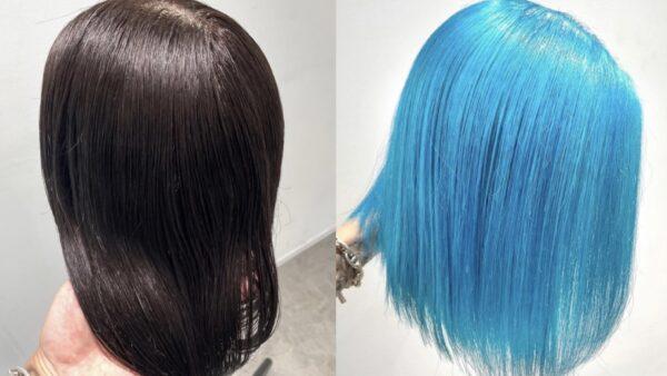 黒髪から作る水色